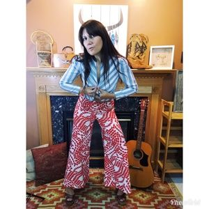 Amazing print polyester bell bottoms 70s